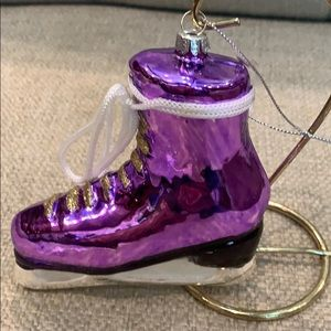"""Purple Glass Ice Skate with Lace Bow Tie 5"""""""